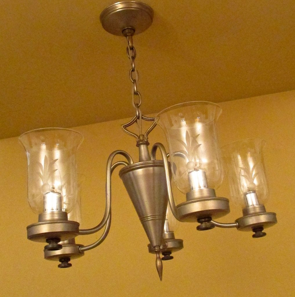 1940s Pewter Like Chandelier By Lightolier